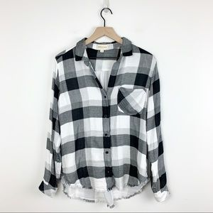 Cloth & Stone | Check Button down Frayed Shirt M